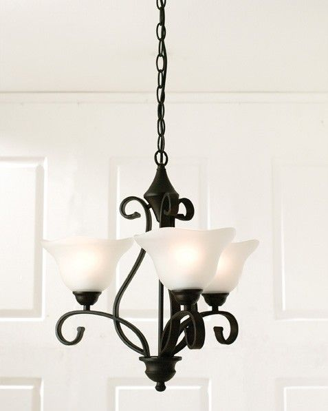 Madrid 3 Light Pendant in Bronze with Frost Glass