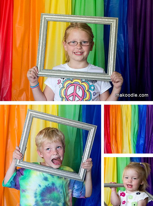 Rainbow Photo Booth for KIds Birthday Party - plastic table clothes. .