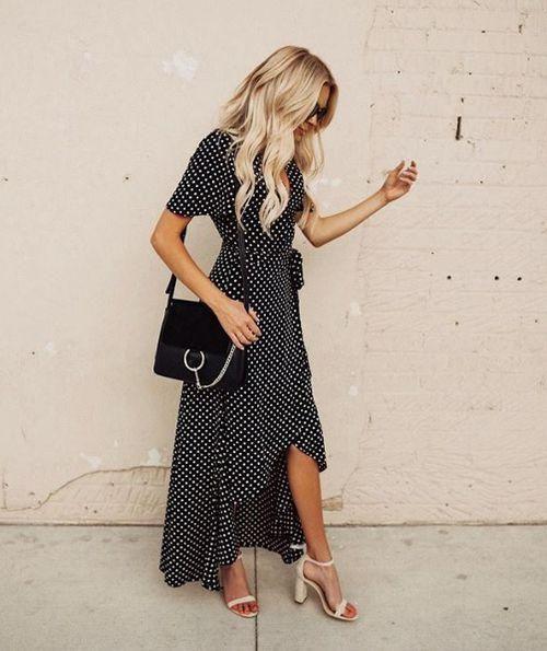 Polka Dot Wrap Maxi Dress – 4hearts