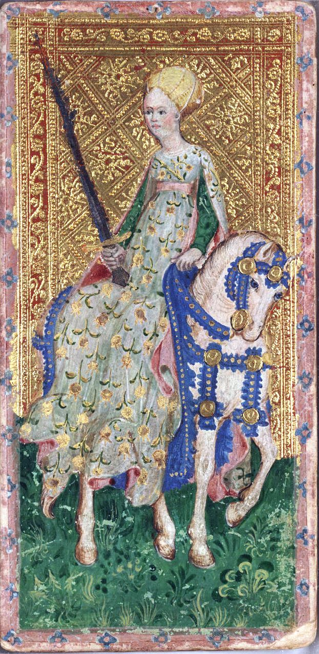Horsewoman of Spades from the Visconti tarot deck by Bonifacio Bembo, c.1450