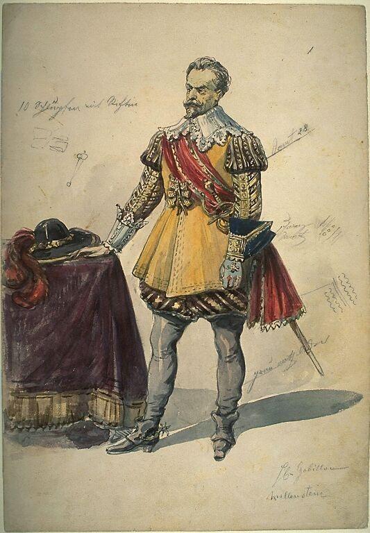 Kostümentwurf die Figur des Wallenstein aus 'Wallenstein' von Friedrich von Schiller | Franz Gaul | Bildindex der Kunst & Architektur