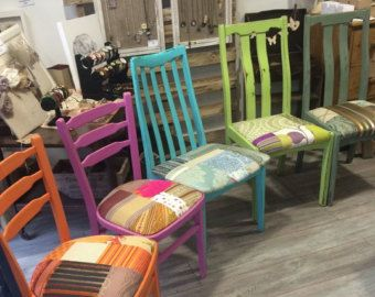 Bright Painted Colourful Patchwork Chairs, Multicoloured Patchwork Dining Chairs, Purples, Single, Set of Six
