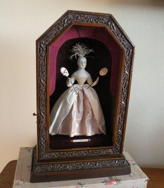 Shadow Box Curiosity Box Antique Doll Lowbrow by jennieshox