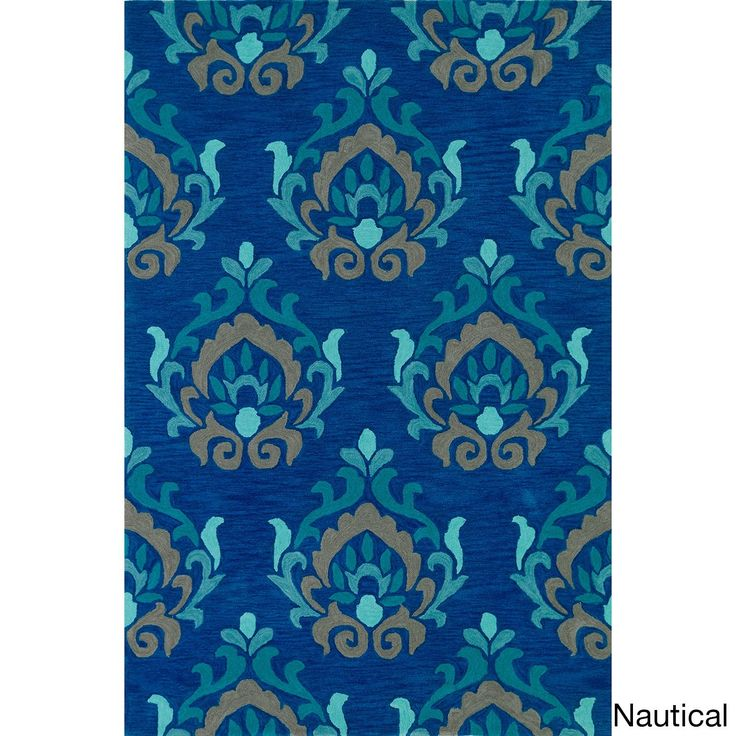 Valencia Fawn Rectangular Rug (5' x 7'6) (Valencia Nautical Rectangular Rug (5'x7'6)), Blue, Size 5' x 8' (Acrylic, Abstract)
