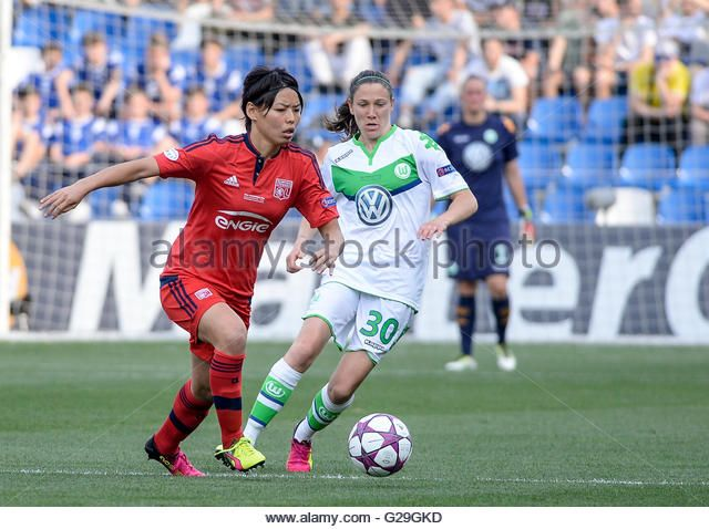 Reggio Emilia, Italy. 26th May, 2016. Saki Kumagai and Elise Bussaglia during Uefa Woman's Champions League - Stock Image