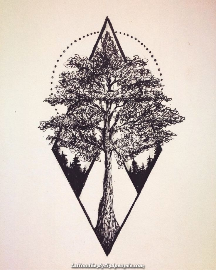Geometric Forest Tattoo : geometric, forest, tattoo, Excellent, Phrase, Geometric., Fairly, Problem,, Result, Actually, Geometric, Tattoo, Tree,, Couple,, Designs