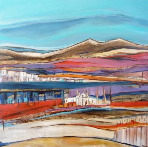 Pinturas en tela de Paulina Beyer  Artista chilena  De paseo por la Tirana  Mixta tela  80x80cm  2011  US$ 1,059  EUR$ 719