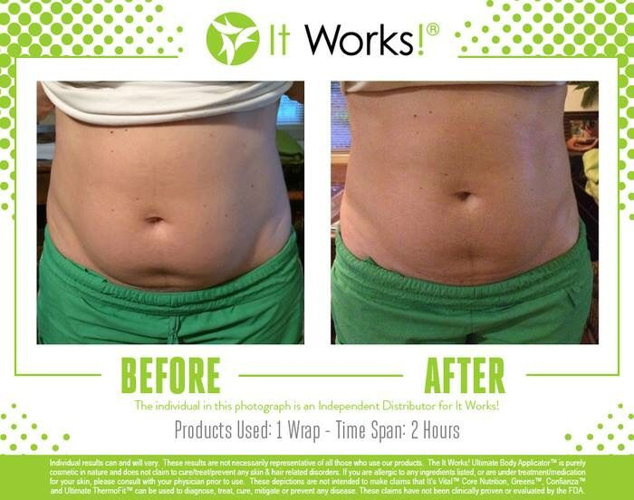It Works wrap before and after.  evaabennett.myitworks.com