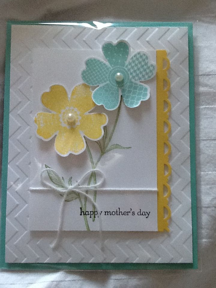 Stampin' Up! stamp set Flower Shop and matching Pansy Punch, chevron embossing folder