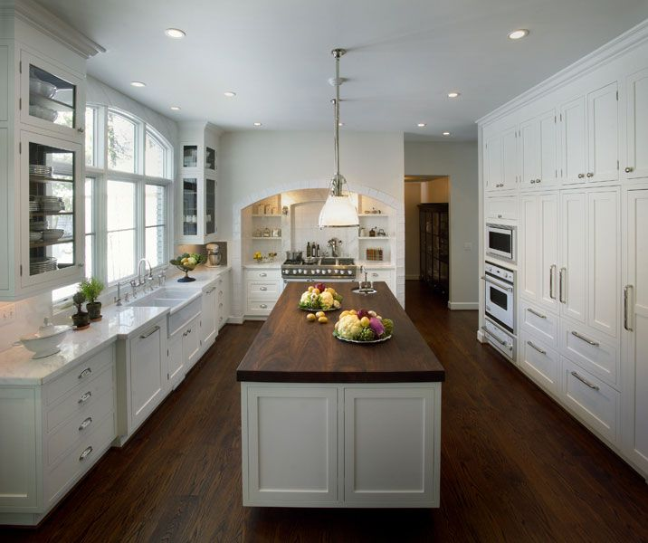 White Glass Front Kitchen Cabinets Calcutta Marble Counter Tops Backspalsh Double Farmhouse Sinks Island Butcher Block Top And
