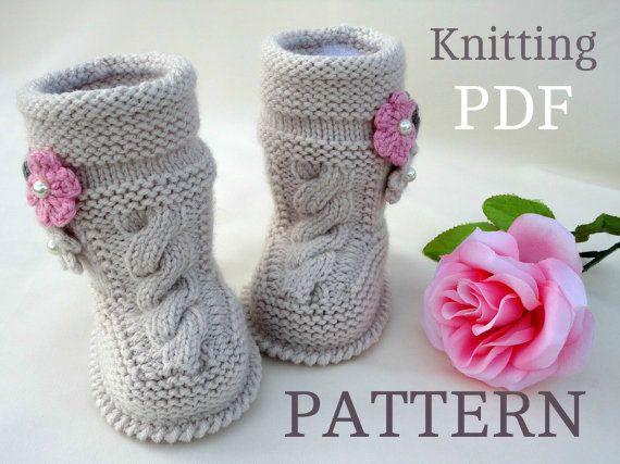 P A T T E R N bébé bottillons bébé fille chaussures modèle tricoté bébé bottillons modèle bébé Booty bébé Uggs modèles bottes pour bébés (fichier PDF)