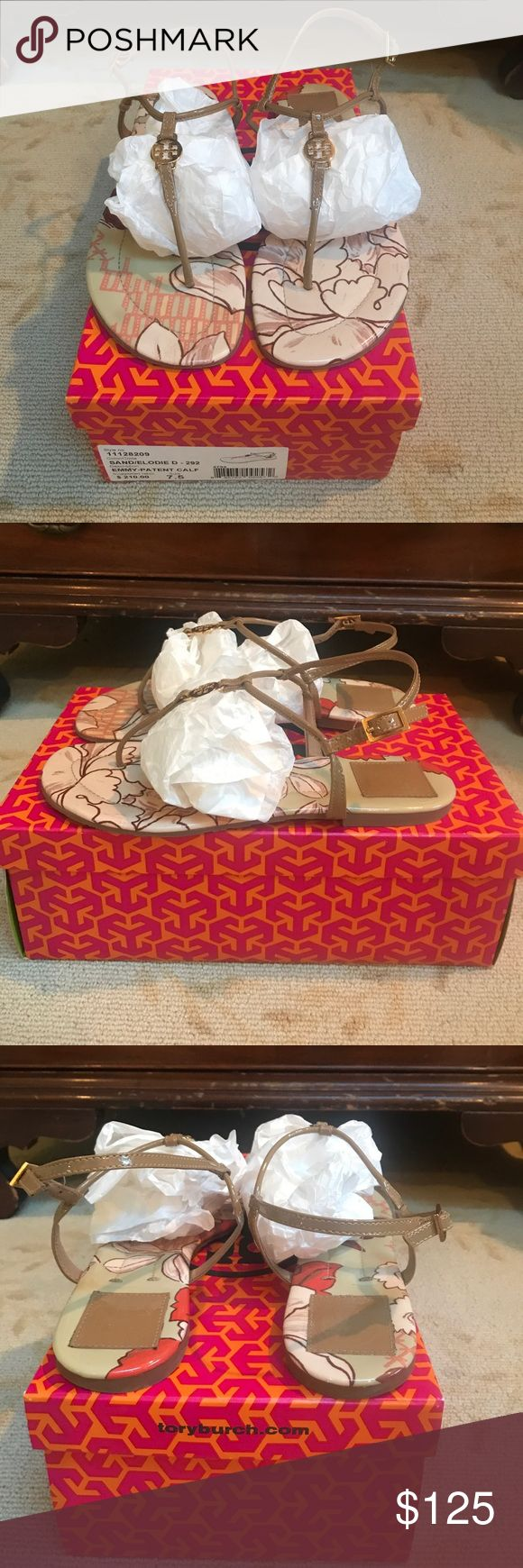 TORY BURCH EMMY-PATENT SANDAL Like new! Hardly worn. Sand color with design padding on bottom. Kept in box. True 7.5 Tory Burch Shoes Sandals