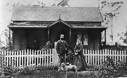 Unidentified residence at Gympie, Queensland, ca. 1871   A timber home with tiled roof.