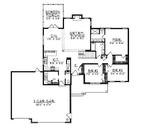 Ranch house plan 99185 3 car garage cars and master for 3 car garage ranch house plans
