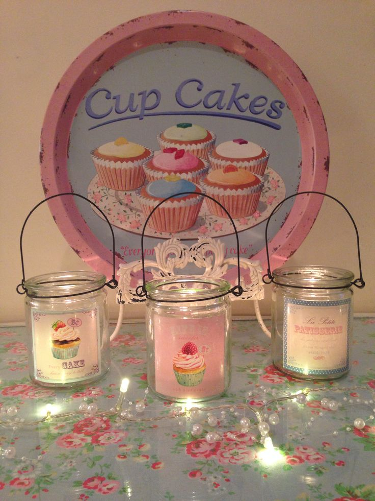 Cute candle jars featuring a lovely backdrop :)