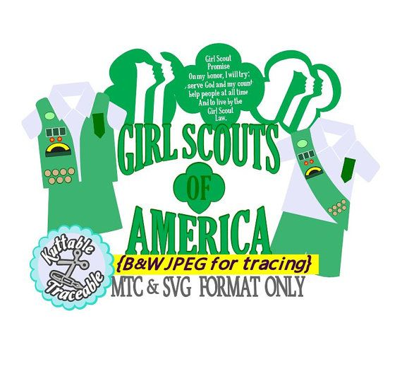Girl Scouts Bundle Cut Files MTC  SVG File Format with traceable B&W JPEGS