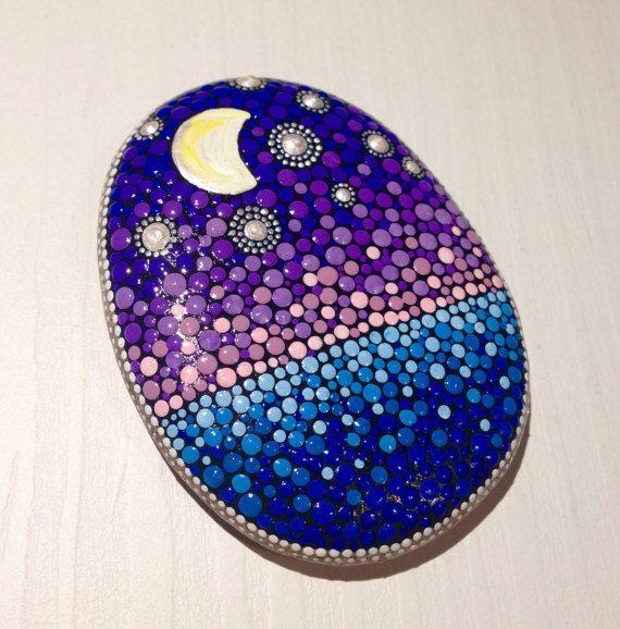 Dot Art Night Sky Painted stone painted rock Fairy garden marker decoration stone art dotilism blue