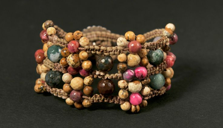 Butterfly * Floral Natural Mix Beaded Cuff Bracelet