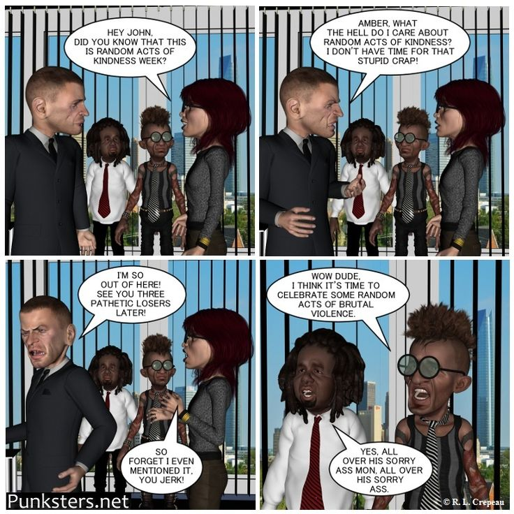 Punksters.net punk rock comic strip number 52. Some people just can't seem to get along with their co-workers. Every workplace seems to have at least one jerk. #work #jerk #comicstrip#comicstrip