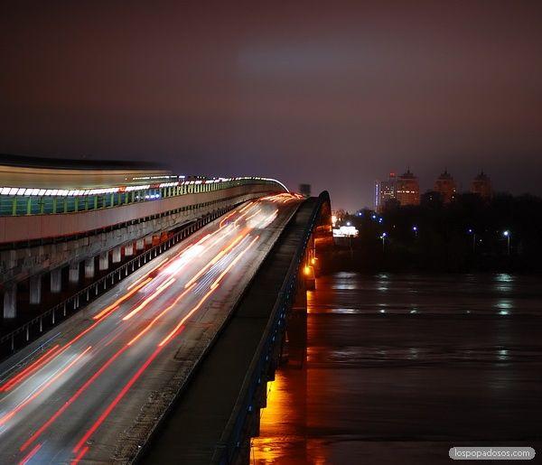 """Ночная фотография - """"Мост Метро, Киев"""""""