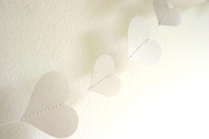 20 ft Garland-Hearts-Silver-Metallic-Glitter-Wedding Decoration by younghearts