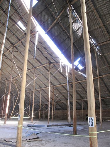 Murtoa Stick Shed, loose tin sheets from the roof