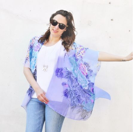 SHEER KIMONO: BIRDS, FLORALS AND FLOWERS - PINK AND WHITE SHEER KIMONO BATHING SUIT COVER UP created by HALINA SHEARMAN DESIGNS