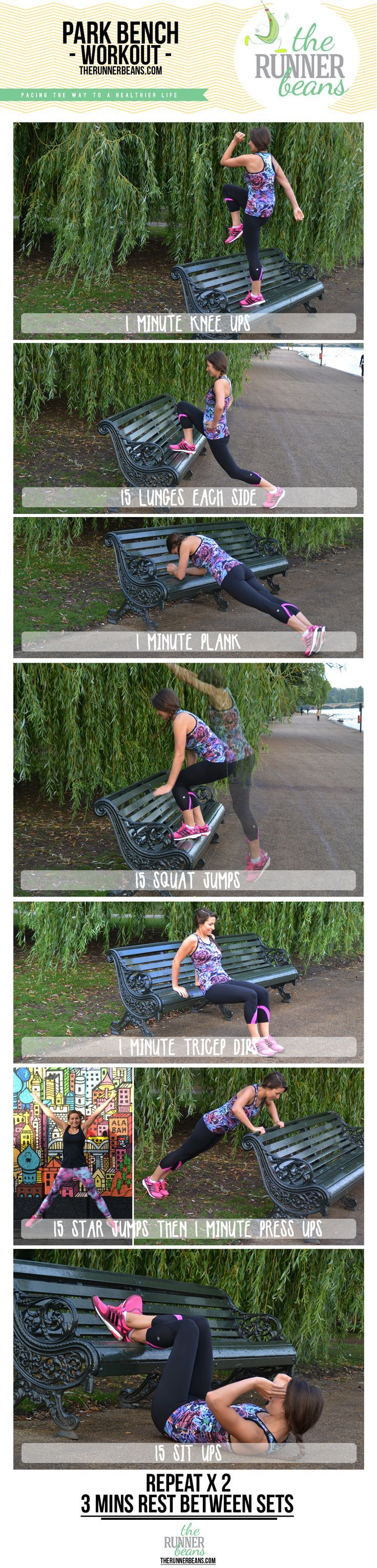 An easy workout utilising a park bench or a bench anywhere! Great to add on after some cardio or in between sets of sprint intervals. No equipment needed and works the whole body. http://www.therunnerbeans.com
