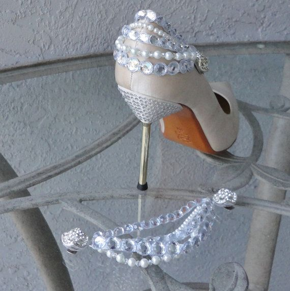 Glamorous Rhinestone And Pearl Shoe Clips For The Back Of Your Shoe