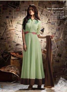 Green floor length anarkali suit in georgette for feastival
