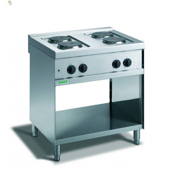 Cucina elettrica con piastr tonde e vano a giorno Dimensione cm.80x70x90 Alimentazione 400 V-3N N° piastre per potenza 4x2Ø180 Potenza Kw8
