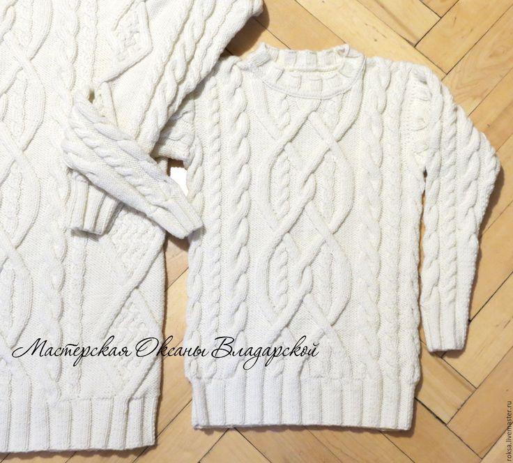 """Купить Детский свитер """"Айвори"""" - белый свитер, свитер на заказ, купить вязаный свитер"""