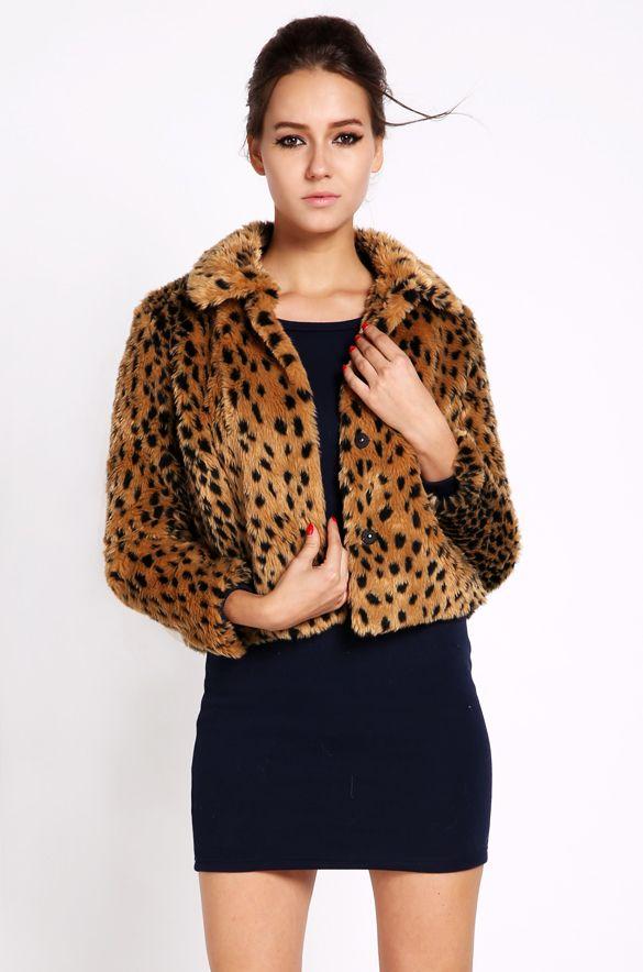 Chaqueta de piel sintética de leopardo