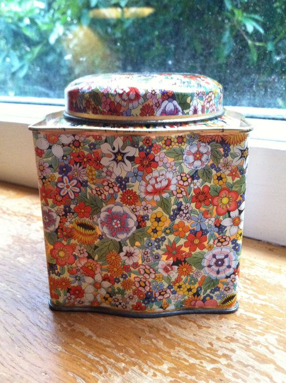 Gorgeous Bright Floral Daher Tin Container