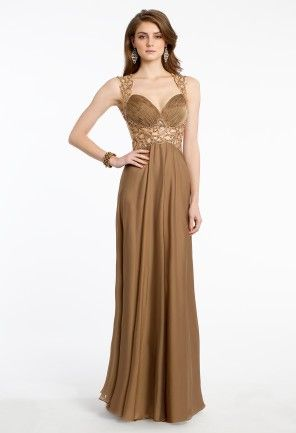 Romance them when you arrive to your prom in this elegant formal dress! This ultra feminine style will showcase your beauty and figure flawlessly with these little yet note-worthy details: a beaded paisley cutout bodice and waistline, a ruched sweetheart neckline, long chiffon skirt, and a daring open back. Debut this dress with a dreamy pair of heels, golden bracelet, and a chic clutch handbag.   • Sweetheart neckline with cut out beaded straps • Empire waist  • Chiffon skirt  • Open back…