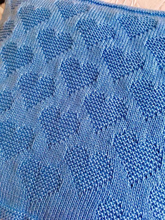 Patrón de tejer, manta para bebé, mucho amor, corazón, PDF, descarga instantánea, bebé, guardería