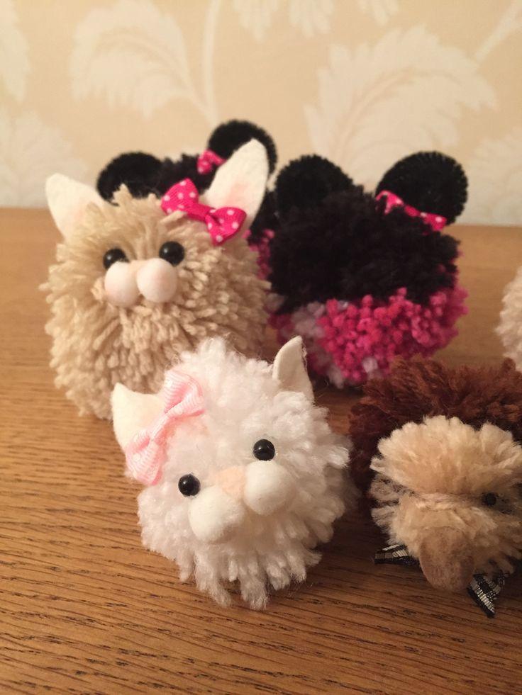 Pompom animals made using clover pompom makers