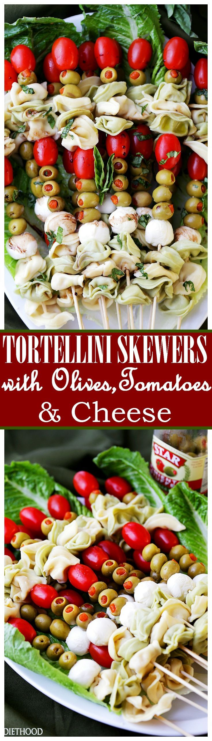 Tortellini Skewers with Olives Tomatoes and Cheese Recipe - Fun and festive appetizer plate with cheesy tortellini flavorful manzanilla olives, grape tomatoes and fresh mozzarella cheese threaded on skewers. A gorgeous addition to your Holiday table!