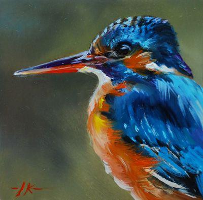 """by Joke Klootwijk   (Olieverf """"Ijsvogel"""" op Mus paneel, maat 10 x 10 cm, te koop voor euro 55,00 + verzendkosten email mij.)"""