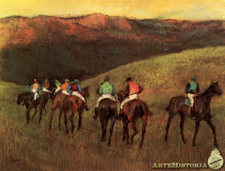 Degas. Caballos de carreras en un paisaje