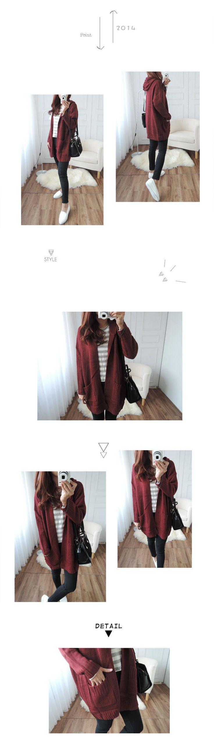 Long Hooded Cardigan, Dark Red , One Size - CYNTHIA | YESSTYLE Canada