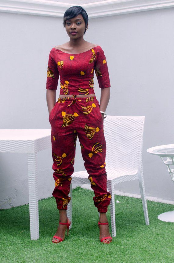 African Joggers, Red African Joggers, Red and Yellow African Print Joggers, Wide Neck AfricanTops, Motherland Tops and Matching Pants