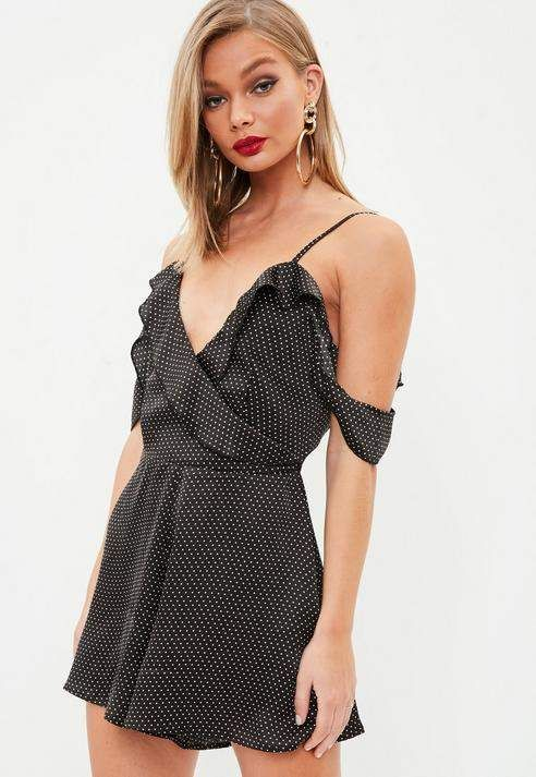 dd9409ddf1 Black Polka Dot Ruffle Wrap Playsuit