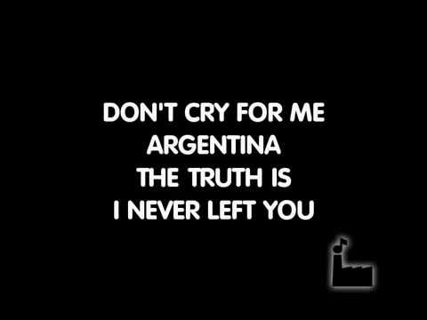 Dont Cry For Me Argentina - Karaoke - YouTube