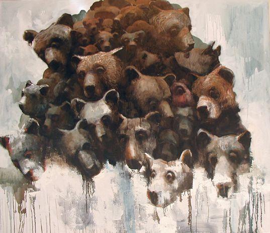 Visual artist Samuli Heimonen Mountain. 140Cm x 160cm. Acryl and oil on canvas. 2006