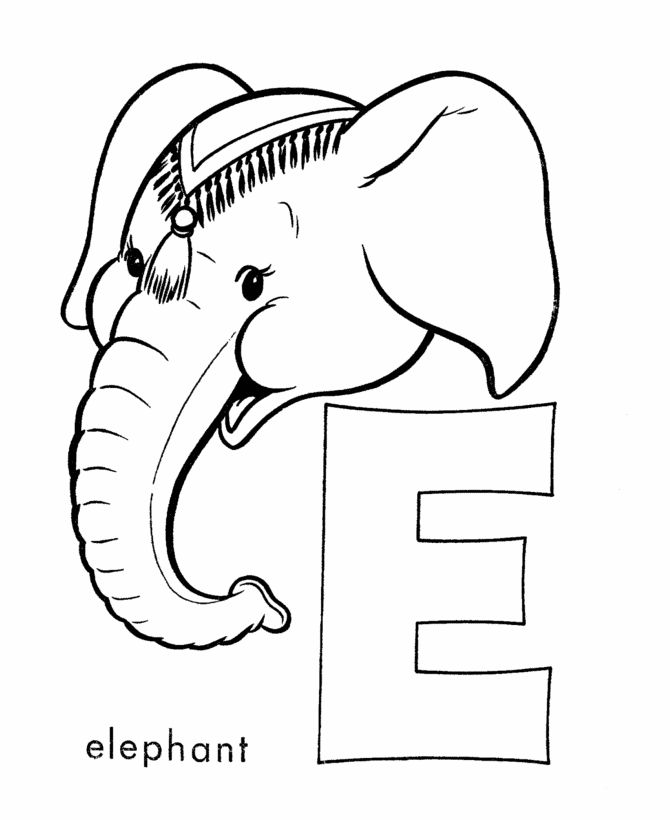 Abc Coloring Sheet Letter E Is For Elephant Coloring
