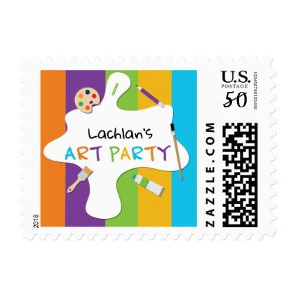 Art Party Custom Postage Stamp - template gifts custom diy customize