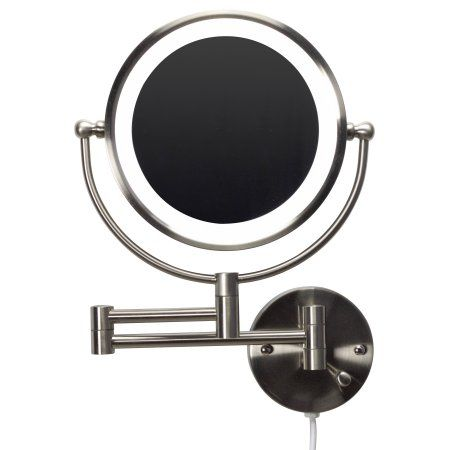 20.83-in. W Round Brass-LED Wall Mount Magnifying Mirror In Brushed Nickel Color, Silver