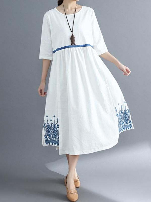 d0fc9cceb Embroidered Split-side National Style Long Dress in 2019 | Kurtis ...