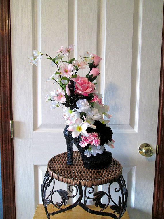 Silk Flower Arrangement with Pink White and by AlwaysInBloomFloral